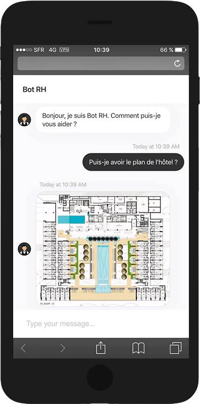 capture d'écran de l'agent conversationnel en pleine discussion