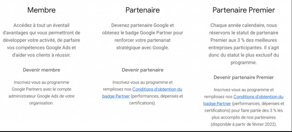 google partner niveaux de partenariat